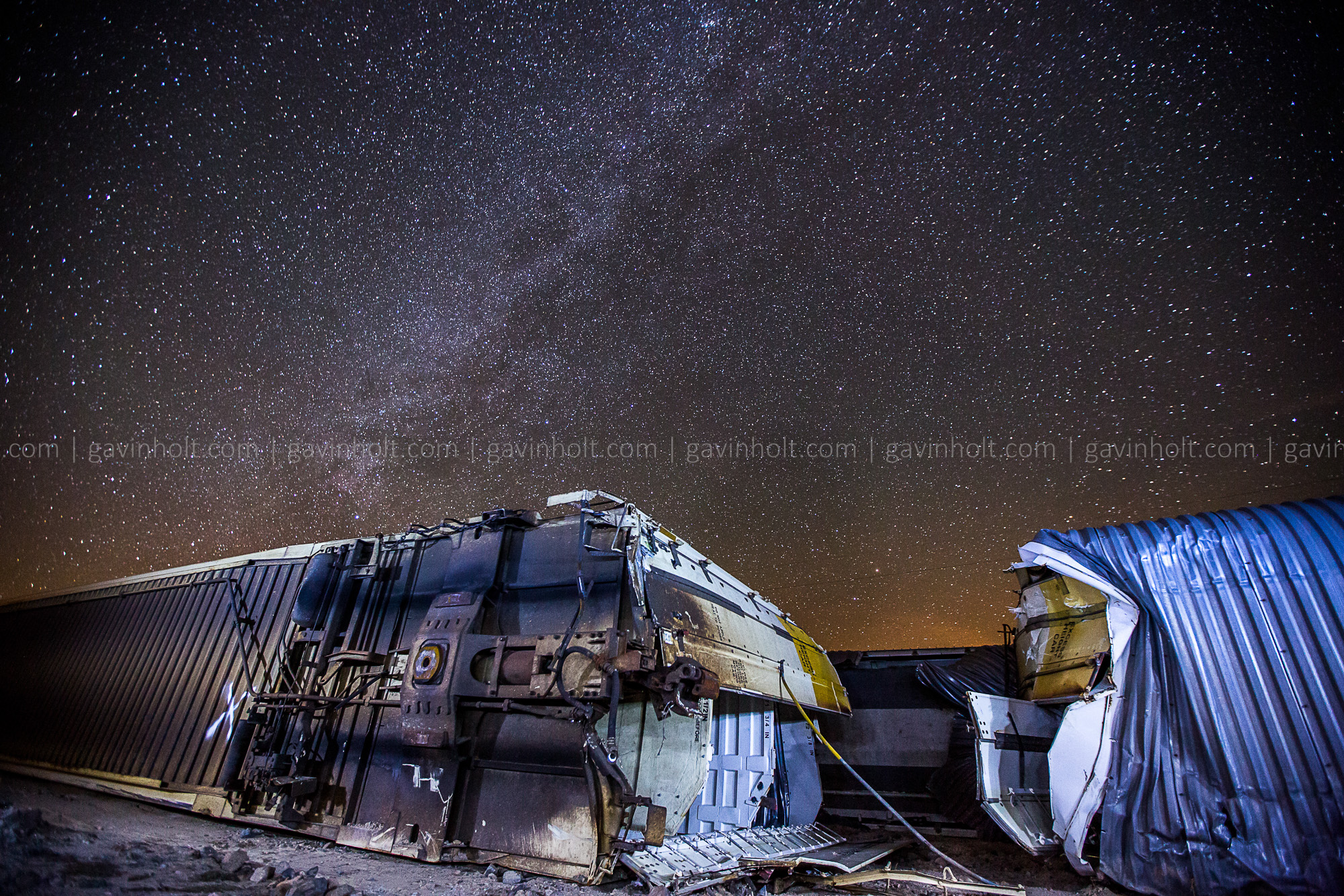 Derailed Train under the Milky Way